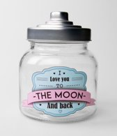 Snoeppot   I love you to the moon and back gevuld met verse dropmix