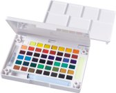Koi Water Colors aquarel sketch pocketbox 48 kleuren napjes met brush brushpen penseelpen penseelstift