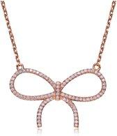 Fate Jewellery Ketting FJ473 – Strikje – 925 Zilver, Rosegoud verguld met Zirkonia kristallen – 45cm + 5cm