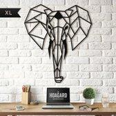 Metalen Olifant XL Wanddecoratie - Groot Formaat 75cm x 90 cm - Metal Elephant Wall Art XL - Hoagard - Geometrisch Ontwerp Muurdecoratie