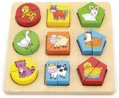 Viga Toys - Boerderijpuzzel met Geometrische Vormen - 19 delig