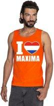Oranje I love Maxima tanktop shirt/ singlet heren - Oranje Koningsdag/ Holland supporter kleding M