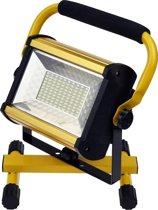 QY 100 W LED Bouwlamp Floodlight Outdoor - 100 LED's - 2400 Lumen Daglicht – oplaadbaar - met gevarenlamp-functie - inclusief 6 18650 accu's