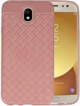 Roze Geweven TPU case hoesje voor Samsung Galaxy J7 2017 / Pro