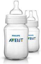 Philips Avent Classic+ SCF563/27 - Babyflessen (260 ml) met speen voor langzame toevoer 1m+ - 2 stuks