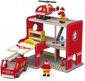 Brandweerkazerne met brandweerauto-brandweermannetjes en helikopter