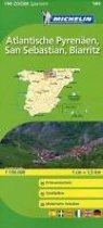 Michelin Localkarte Atlantische Pyrenäen, San Sebastian, Biarritz 1 : 150 000