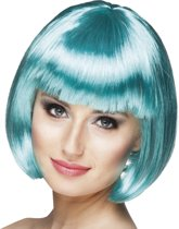 8 stuks: Pruik Cabaret - turquoise