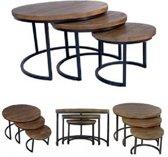Dessing Industriële salontafel set van 3 - met 3cm dik blad