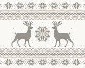 Kerst Vinyl Placemat | Rendier roze / grijs | 6 stuks (1 gratis)