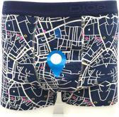 DICE Underwear Heren Boxer all over print Maps blauw maat XXL