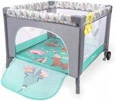 Lionelo Stella - kinder reisbox met zacht matrasje en klamboe en draagtas Turquoise scandi