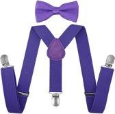 Fako Fashion® - Kinder Bretels Met Vlinderstrik - Effen - 65cm - Paars