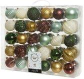 Decoris 60x Kerstballenset - 6 tot 7 cm - bruin/goud/groen - onbreekbare plastic kerstballen
