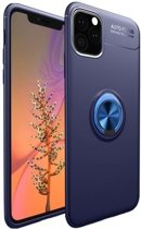 Teleplus iPhone 11 Pro Max Case Silicone Navy Blue with Ravel Ring + Full Covering Glass hoesje
