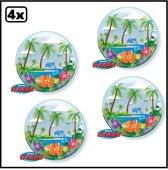 4x Bubbles ballon tropical