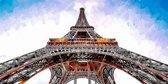 De Eiffeltoren in Parijs in industriële olieverf look, zwart wit, roest, blauw | staal, stad, sfeer, modern | Foto schilderij print op Dibond / Aluminium (metaal wanddecoratie) | 120x60cm