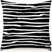 Paint Stripes Kussenhoes   Katoen/Flanel   45 x 45 cm   Zwart/Wit
