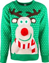 JAP Foute kersttrui - Rudolf met 3D neus voor volwassenen - Dames en heren - M - Groen