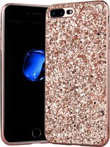 Luxe Glitter Backcover voor Apple iPhone 7 Plus - iPhone 8 Plus - Bling Bling Hoesje - Roze - Hoogwaardig Hardcase - Glamour