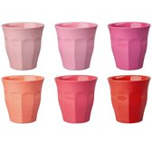 GINGER Medium Cup set - 6 melamine bekers - roze/rood