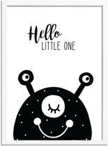 Kinderkamer poster Hello Little One DesignClaud - Zwart wit - A3 + fotolijst wit