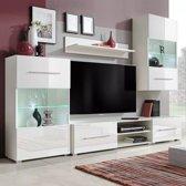 Muurvitrine tv-meubel met LED-verlichting wit 5-delig