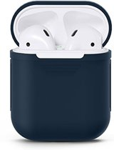 Airpods Silicone Case Cover Hoesje geschikt voor Apple Airpods 1 / 2 - Donker Blauw