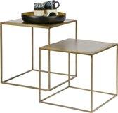 BePureHome Metallic Bijzettafels - Vierkant Metaal - Brass - Set v2