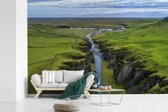 Fotobehang vinyl - Luchtfoto van een rivier in het Europese IJsland breedte 360 cm x hoogte 240 cm - Foto print op behang (in 7 formaten beschikbaar)