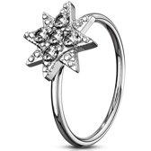 Neus piercing hoop ring ster met steentjes ©LMPiercings