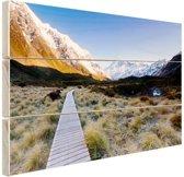 Pad naar de bergen Hout 80x60 cm - Foto print op Hout (Wanddecoratie)