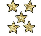 Strijk embleem 'Glitter sterren goud paillet patch set (5)' – stof & strijk applicatie