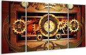 Glasschilderij Klok | Bruin, Rood, Geel | 160x80cm 4Luik | Foto print op Glas |  F004159
