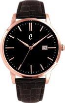 Colori Connaisseur 5 COL472 Horloge - Leren Band met Croco Print - Ø 40 mm - Donker Bruin