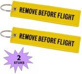 Fako Bijoux® - Sleutelhanger - Remove Before Flight - Geel/Zwart  - 2 Stuks