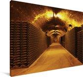 Foto van een wijnkelder Canvas 90x60 cm - Foto print op Canvas schilderij (Wanddecoratie woonkamer / slaapkamer)