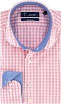 Sleeve7 Heren Overhemd Roze Allover Ruiten Poplin Modern Fit - 45