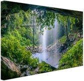 Foto van regenwoud met waterval Canvas 120x80 cm - Foto print op Canvas schilderij (Wanddecoratie)