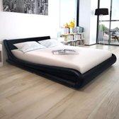 vidaXL Bed met traagschuim matras 160x200 zwart kunstleer