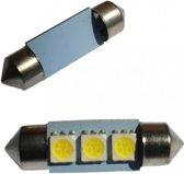 Auto LEDlamp 2 stuks   LED festoon 36mm   3-SMD xenon wit 6000K   12 Volt