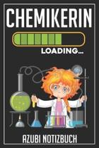 Chemikerin Loading... Azubi Notizbuch: 120 Seiten Kariert im Format A5 (6x9 Zoll) mit Soft Cover Gl�nzend.
