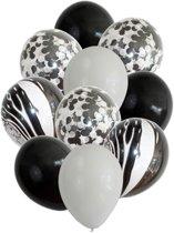 Ballonnen zwart/wit   Mix    10 stuks   Kinderfeestje   Verjaardag   Babyshower   Feest   Confetti   Party   Wedding