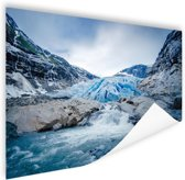 Briksdal gletsjer Poster 180x120 cm - Foto print op Poster (wanddecoratie woonkamer / slaapkamer) XXL / Groot formaat!