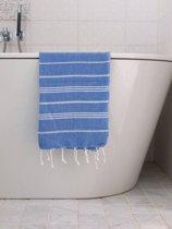 Hamam Handdoek Grieksblauw Met Witte Strepen - 100x50cm - sneldrogende handdoeken - saunadoek - kleine hamamdoek - reishanddoek - zwem handdoek