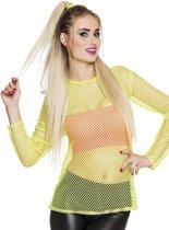Fluo geel jaren 80 t-shirt voor vrouwen - Verkleedkleding