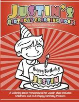 Justin's Birthday Coloring Book Kids Personalized Books