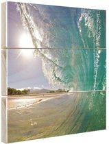 Golven Oceanie  Hout 60x80 cm - Foto print op Hout (Wanddecoratie)