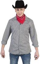 Zwart/wit geruit cowboy verkleed overhemd voor heren 52-54 (L/XL)