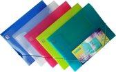 A4 Elastomap met 3 Kleppen - Transparant  - Assorti Kleuren - 5 stuks